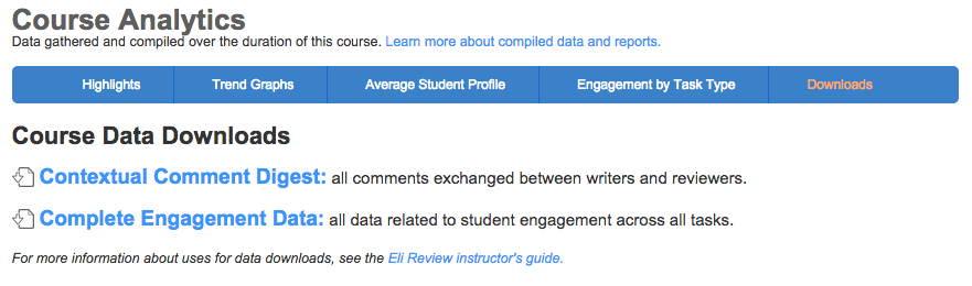 Data download options for class-level engagement and comment data.